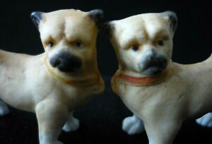 Victorian Miniature Matching Pair Of Bisque Pug Dogs