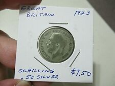 1923 British Silver Coin, Shilling, King George V, Lion on Crown