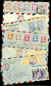 EDW1949SELL : BOLIVIA Nice group 6 Registered Air Mail covers to Australia
