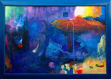 Jiawan Jang *1968 Kaifeng/China: Öl mit Collage Farbige Dynamik 61 x 91cm selten