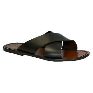 Mens leather slippers sandals in dark brown leather Handmade in Italy