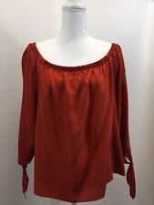 Madewell J Crew Silk Off The Shoulder Top Size XL F 9439 Mustard Brown