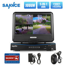 """SANNCE 4CH 5IN1 1080N 10.1""""LCD Monitor DVR Recorder Home Surveilalnce Camera Kit"""