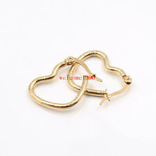 5pair of in bulk Stainless Steel Gold Love Heart Wire Earring Hook 20mm Women