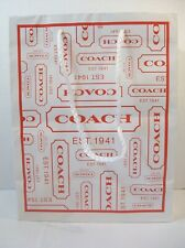 Coach Shopping Bag Paper Red White Medium Braided Handle Used