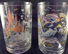 Walt Disney World 25 Anniversary Donald Duck Goofy Glasses 2 McDonalds Embossed