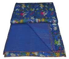 Indian Handmade Kantha Quilt Paradise Queen Throw Bedspread Bedding Vintage Blue