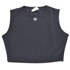 CHANEL P95 #38 CC Logos Sleeveless Tops Swimwear Swimsuit Black Authentic 90283