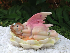 Miniature Figurine FAIRY GARDEN ~ Pink Pastel Fairy Laying in Yellow Flower