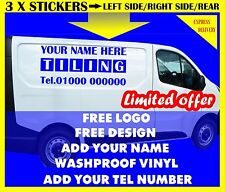 3 X VAN SIGN WRITING KIT WEATHER PROOF VINYL GRAPHICS STICKERS DECALS ADHESIVE