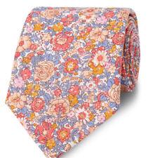 T M Lewin Liberty Floral Print Tie Peach Amelie