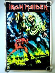 1983 IRON MAIDEN NUMBER OF THE BEAST FELT BLACK LIGHT POSTER #802 VINTAGE 35X23