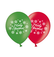 "Merry Christmas Snowflakes 12"" Red & Green Assorted Latex Balloons  Pack of 8"