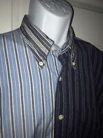 NAUTICA Button Up Striped Color Block Dress Shirt Blue Sz LARGE Chest Pocket EUC