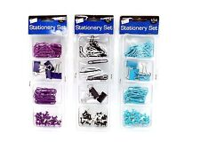 104pc Coloured Mixed Office Desk Stationery Set Paper Bulldog Clips Push Pins
