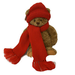 "Brown Teddy Bear Plush Hallmark Mary Red Hat & Scarf Stuffed Animal 16"" NWT"