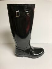 Hunter Original Tall Gloss Womens Rain Boots Black 7 M
