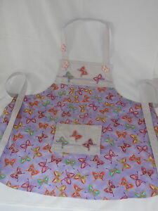 Handmade girls childs apron. 4 years. Butterfly print. Play kitchen accessory