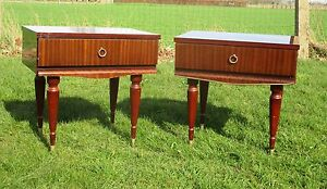 Pair Couple Vintage Nightstands End tables Mid Century Modern Authentic