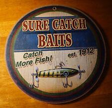 SURE CATCH BAIT & LURES EST. 1912 SIGN Fishing Cabin Fisherman Lodge Decor NEW