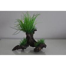 Raíz de árbol con pica de césped de acuario plantas de plástico 19 X 10 X 23 Cm