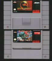 Lot (2) Mortal Kombat Street Fighter 2 Nintendo SNES tested original authentic