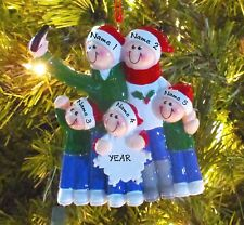Taking A Selfie Family Of 5 Personalized Christmas Tree Ornaments