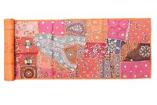 VINTAGE INDIAN HEAVY BEADED PATCHWORK TAPESTRY HANGING KUNDAN MOTI WALL DECOR