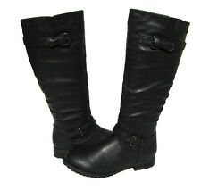 Women's Fashion Knee High Biker Boots Black Winter Snow Shoes Ladies size 6.5