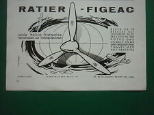 1961 PUB RATIER FIGEAC HELICE HELICIER PROPELLER AVION AIRCRAFT FRENCH AD