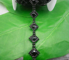 black crystal glass rhinestone square close black chain claw trim Applique 1Yard