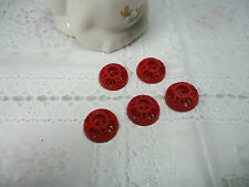 Vintage Unusual Dome Cut Out Design Red Buttons-Qty 5