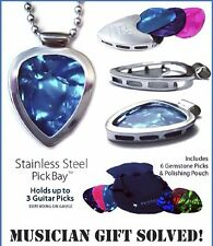 Set Pickbay fashion Sweetheart extraodinaire Chrome Guitar Pick Holder Necklace