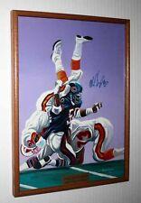 Signed MIKE SINGLETARY HOF Oil Art PAINTING, BEARS vs BUCS, FRAME Football, UACC