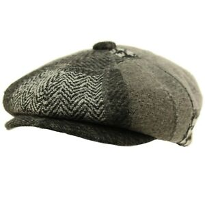 Men's 100% Winter Wool Patch Plaids Snap Newsboy Drivers Cabbie Cap Hat