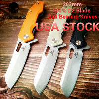 D2 Blade Ball Bearing Knives Tactical Folding Knife G10 Handle Survival Hunting