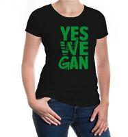 Damen Kurzarm Girlie T-Shirt Yes Vegan Veggie Salat Fun Sprüche Geschenk Rohkost