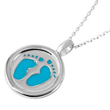 Sterling Silver Rhodium Plated Necklace w/ Blue Enameled Footprints Pendant