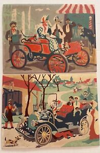 "Vintage Paint By Number Pair ""Antique Autos"" Two 9x12 Monkey In A Fez Horseless"