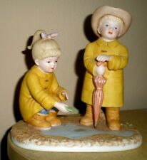 """Denim Days Home Interiors 88013 """" Puddle Jumpers """" Rain Collectible Figurine"""