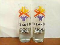 "Lot of 2 Salt Lake City 2002 Olympics Winter Games Tall Shot Glass 4 1/8"" Tall"