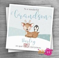Personalised Christmas Card Baby's First 1st Christmas Son, Grandson, Nephew