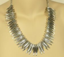 Bohemia Retro Leaf Feather Silver Statement Collar Chain Necklace Lobster Claw