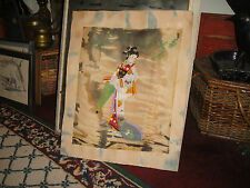 Vintage Japanese Painting On Silk Fabric Woman Umbrella Signed Stamped
