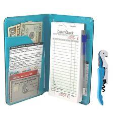 Server Book Waitress Wallet Organizer – Turquoise 7 Pocket Bundle w/ Wine Opener