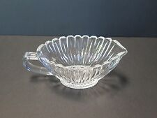 VINTAGE STYLE RIBBED CLEAR GLASS GRAVY BOAT