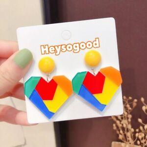 Heart Colourful Geometric Kawaii Funky Kitsch  Cute Quirky Studs Earrings