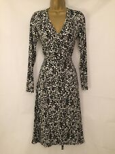 Boden Size 10/12 Long/Tall Floral & Leaf Print Wrap Dress in Black & White 4388