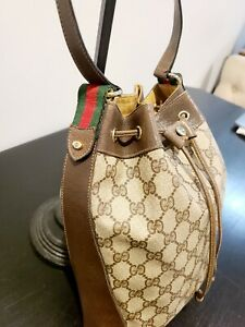GUCCI VINTAGE ACCESSORY COLLECTION WEB DRAWSTRING BAG