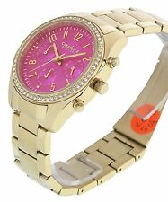 Caravelle New York Ladies Pink Dial Stainless Steel Gold Chronograph Wrist Watch